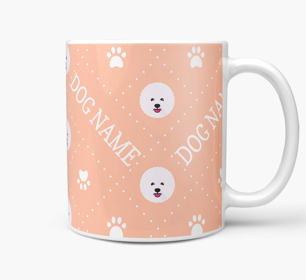 Personalised Mug with Bichon Frise Icons and Paw Prints Side View