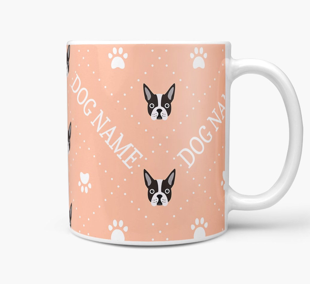 Personalised Mug with Boston Terrier Icons and Paw Prints Side View