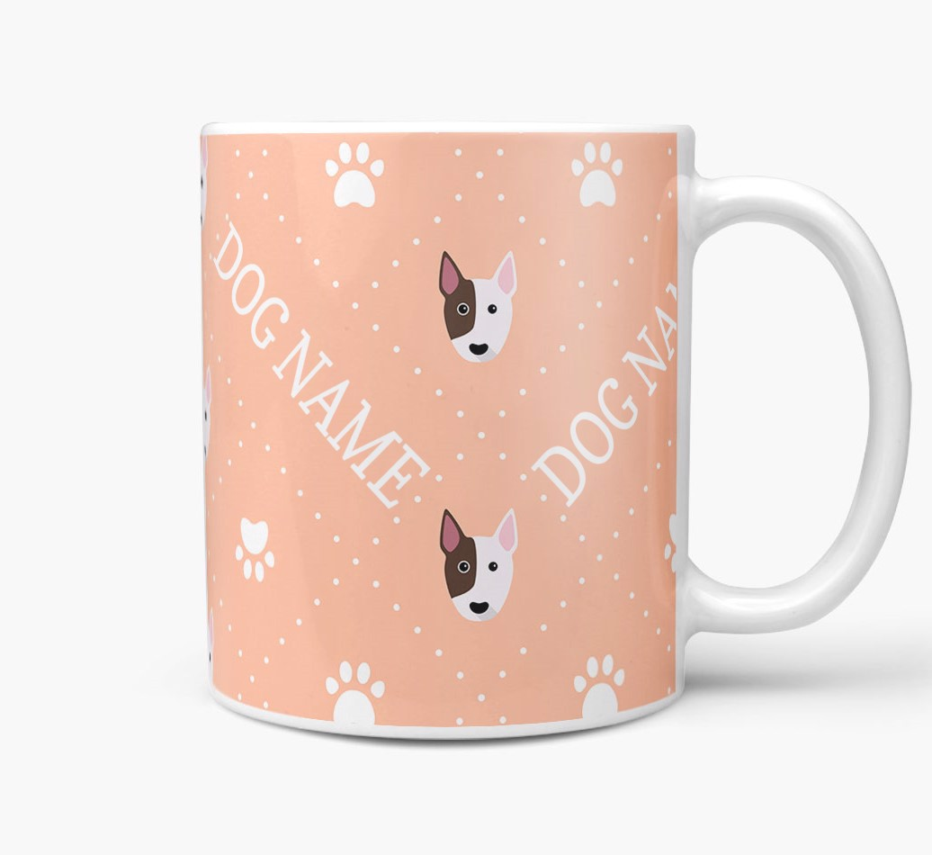 Personalised Mug with Bull Terrier Icons and Paw Prints Side View