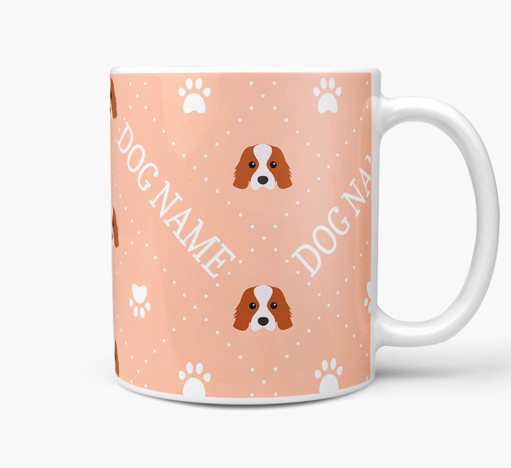 Personalised Mug with Cavalier King Charles Spaniel Icons and Paw Prints Side View