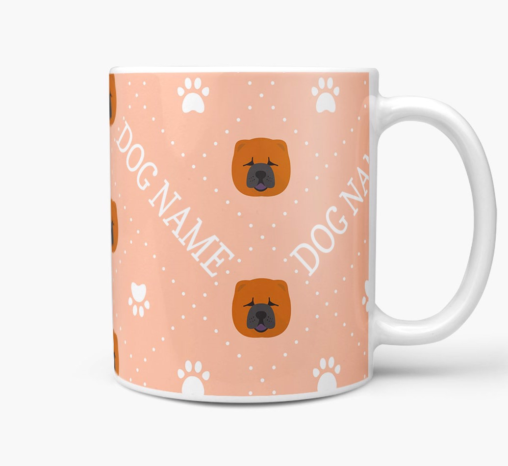 Personalised Mug with Chow Chow Icons and Paw Prints Side View