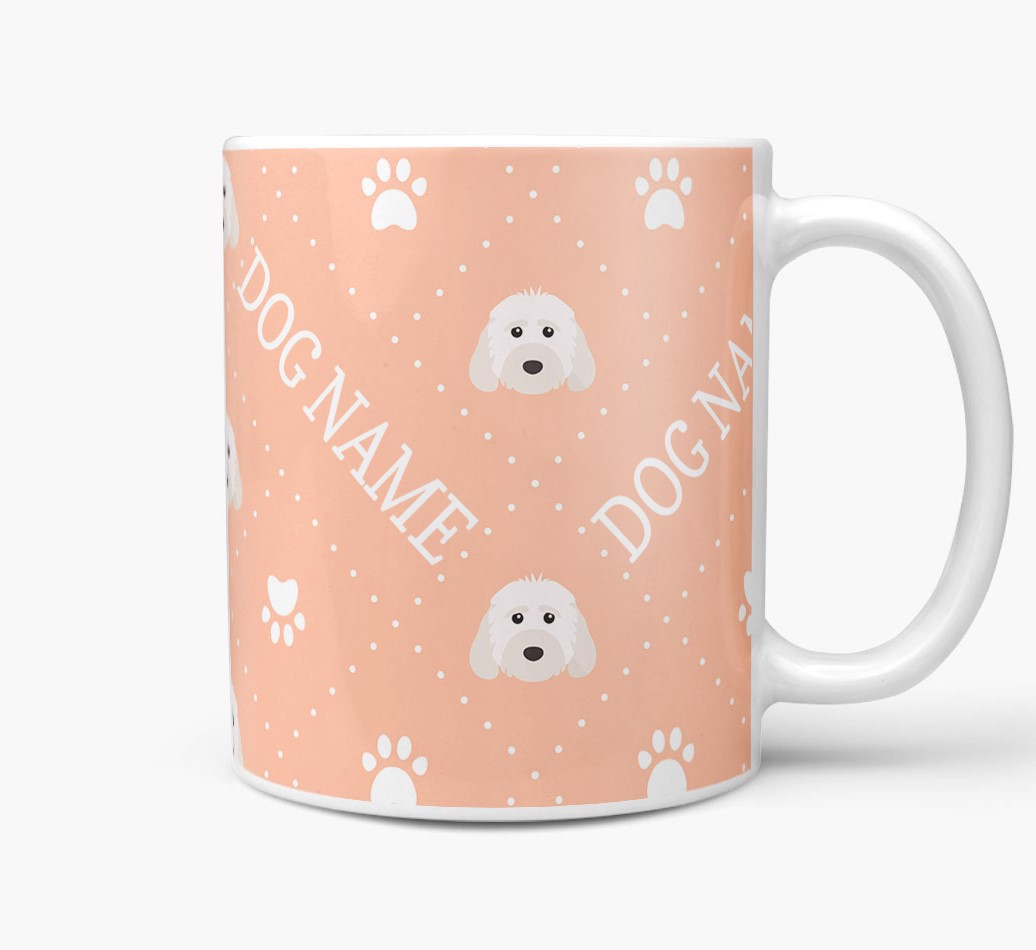 Personalised Mug with Cockapoo Icons and Paw Prints Side View