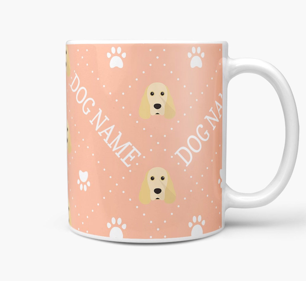 Personalised Mug with Cocker Spaniel Icons and Paw Prints Side View