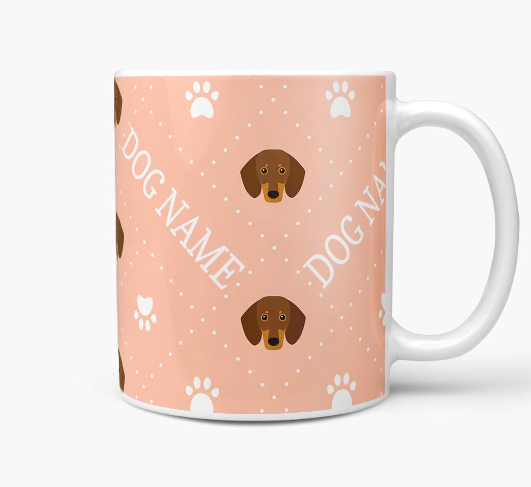 Personalised Mug with Dachshund Icons and Paw Prints Side View