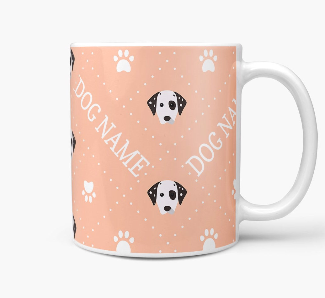 Personalised Mug with Dalmatian Icons and Paw Prints Side View