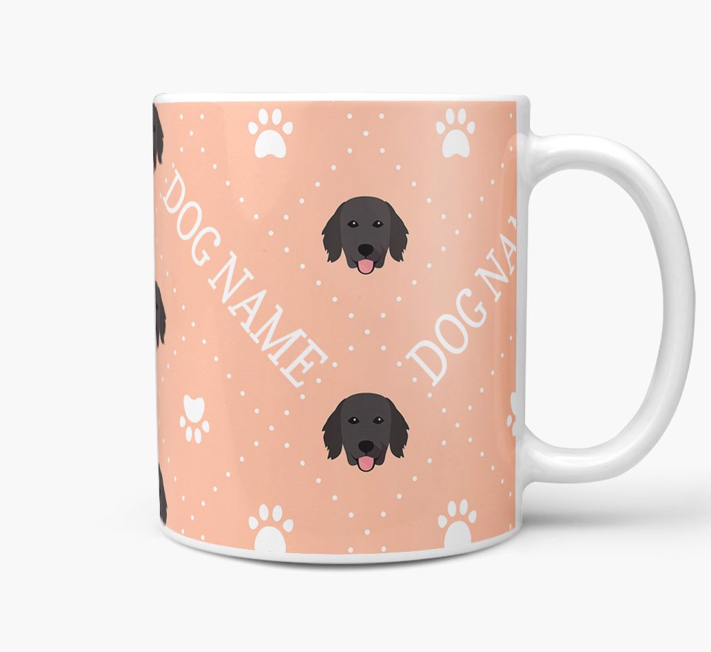 Personalised Mug with Flat-Coated Retriever Icons and Paw Prints Side View