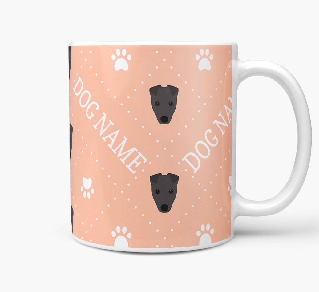 Personalised Mug with Fox Terrier Icons and Paw Prints Side View