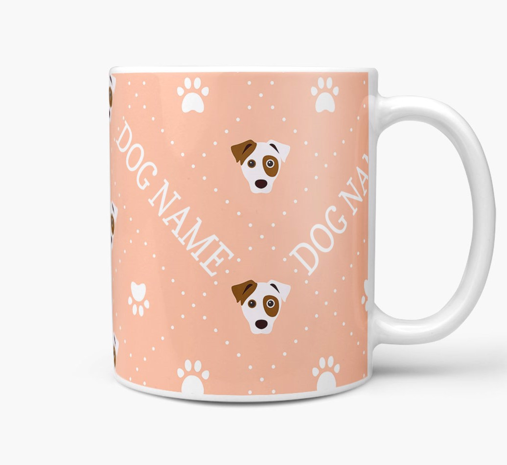 Personalised Mug with Jack Russell Terrier Icons and Paw Prints Side View