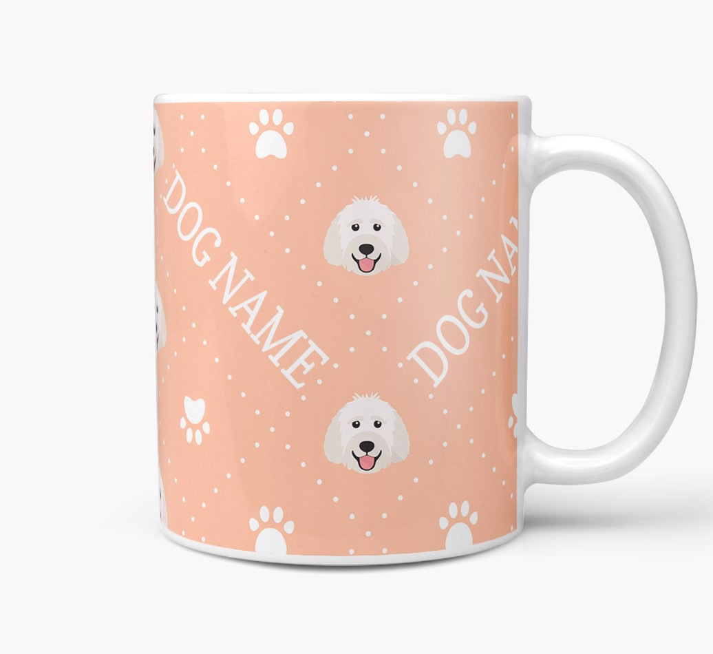 Personalised Mug with Labradoodle Icons and Paw Prints Side View