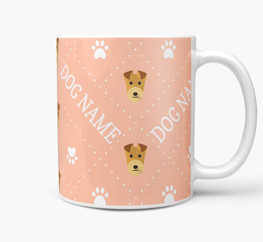 Personalised Mug with Lakeland Terrier Icons and Paw Prints Side View