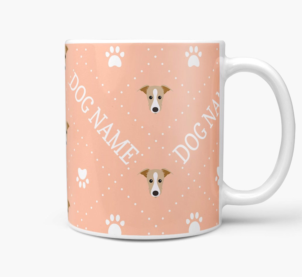 Personalised Mug with Lurcher Icons and Paw Prints Side View