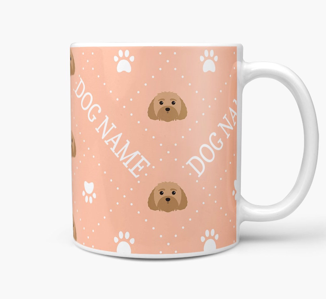 Personalised Mug with Malti-Poo Icons and Paw Prints Side View