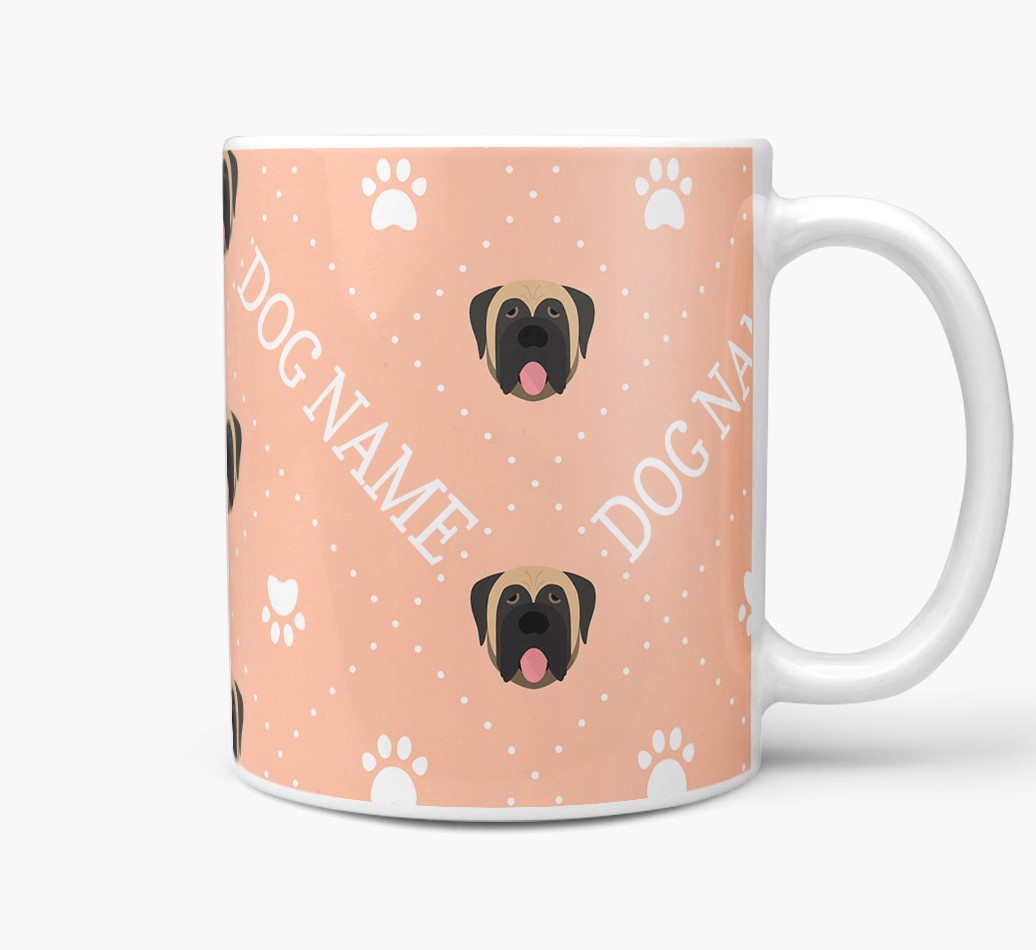 Personalised Mug with Mastiff Icons and Paw Prints Side View