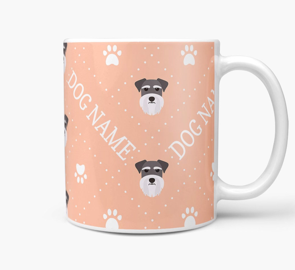 Personalised Mug with Miniature Schnauzer Icons and Paw Prints Side View
