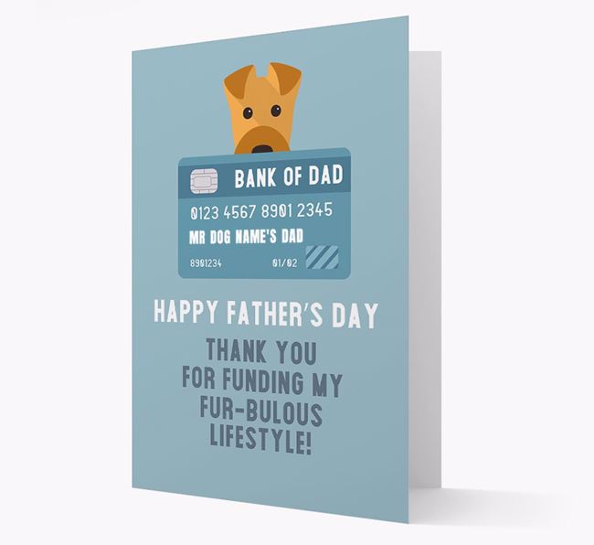 Personalised 'Bank of Dad' Card with Airedale Terrier Icon