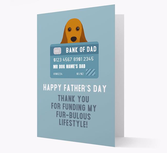 Personalised 'Bank of Dad' Card with American Cocker Spaniel Icon