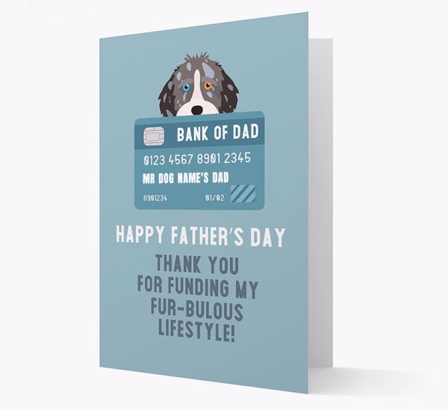 Personalised 'Bank of Dad' Card with Aussiedoodle Icon