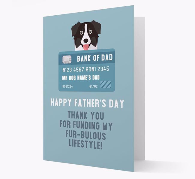 Personalized 'Bank of Dad' Card with Australian Shepherd Icon