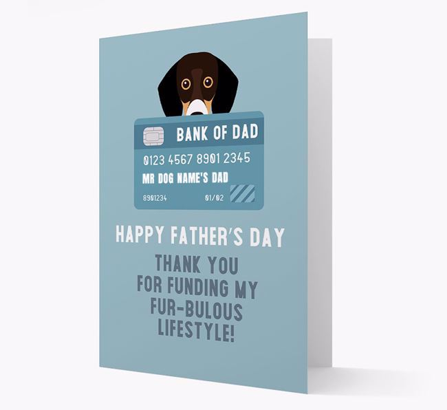 Personalised 'Bank of Dad' Card with Bassador Icon