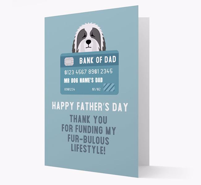 Personalized 'Bank of Dad' Card with Bearded Collie Icon