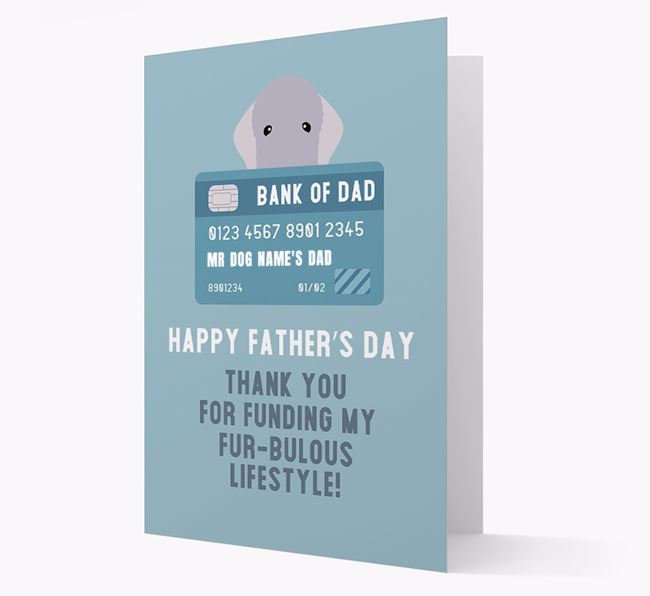 Personalised 'Bank of Dad' Card with Bedlington Terrier Icon