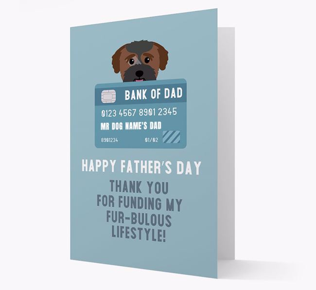 Personalized 'Bank of Dad' Card with Bichon Yorkie Icon