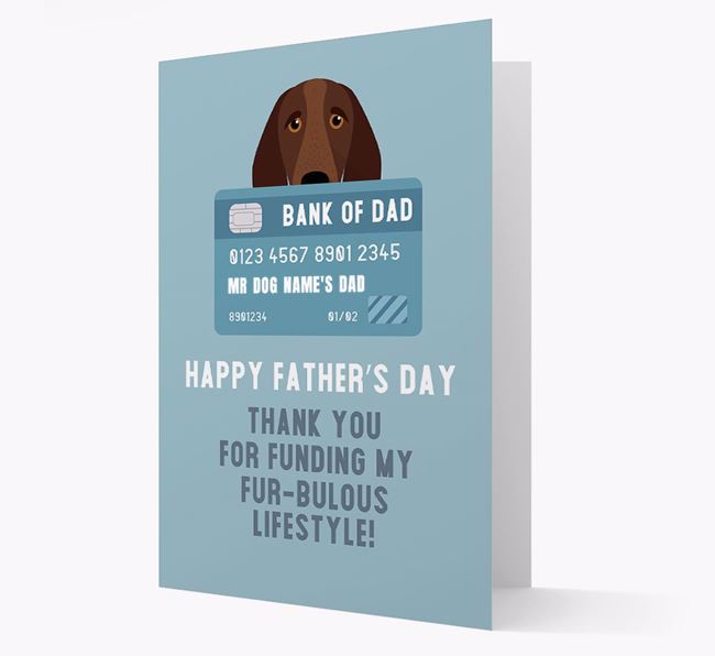 Personalized 'Bank of Dad' Card with Bracco Italiano Icon