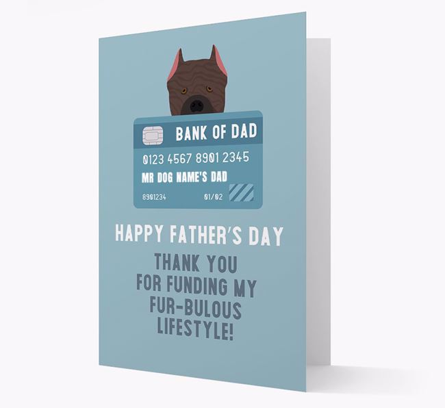 Personalized 'Bank of Dad' Card with Cane Corso Italiano Icon