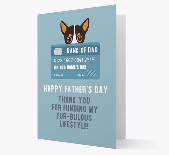 Personalized 'Bank of Dad' Card with Chihuahua Icon