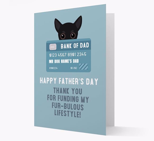 Personalised 'Bank of Dad' Card with Chihuahua Icon
