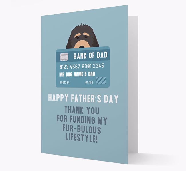 Personalized 'Bank of Dad' Card with Cockapoo Icon
