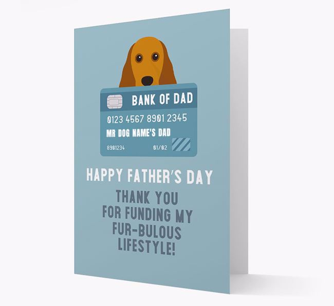 Personalized 'Bank of Dad' Card with Cocker Spaniel Icon
