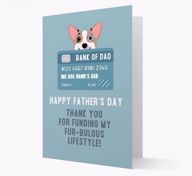 Personalized 'Bank of Dad' Card with Corgi Icon