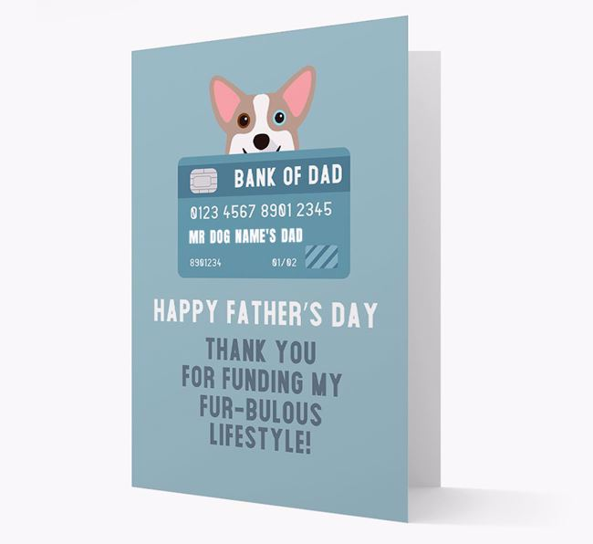 Personalised 'Bank of Dad' Card with Corgi Icon