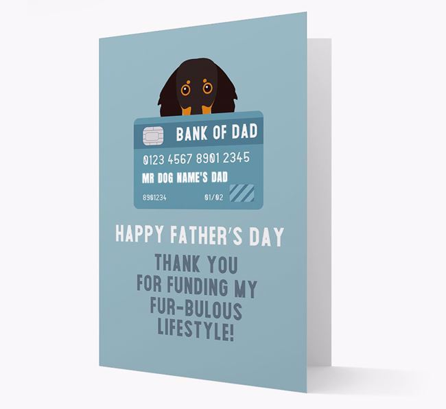 Personalized 'Bank of Dad' Card with Dachshund Icon