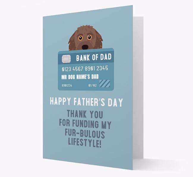 Personalised 'Bank of Dad' Card with Doxiepoo Icon