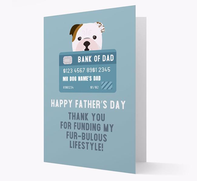 Personalized 'Bank of Dad' Card with English Bulldog Icon