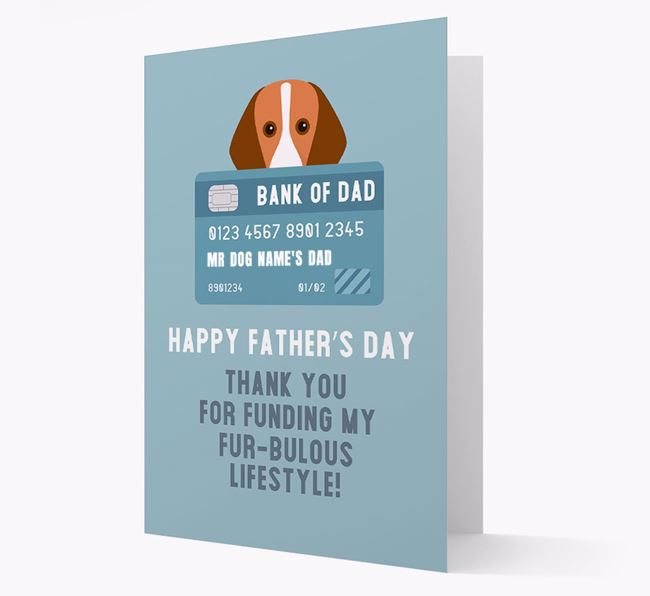 Personalised 'Bank of Dad' Card with Foxhound Icon