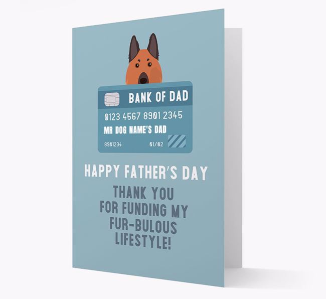 Personalised 'Bank of Dad' Card with German Shepherd Icon