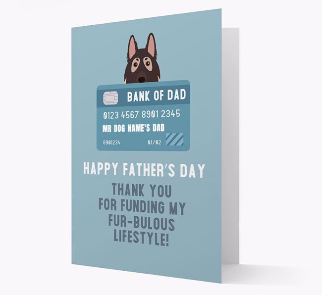 Personalized 'Bank of Dad' Card with German Shepherd Icon