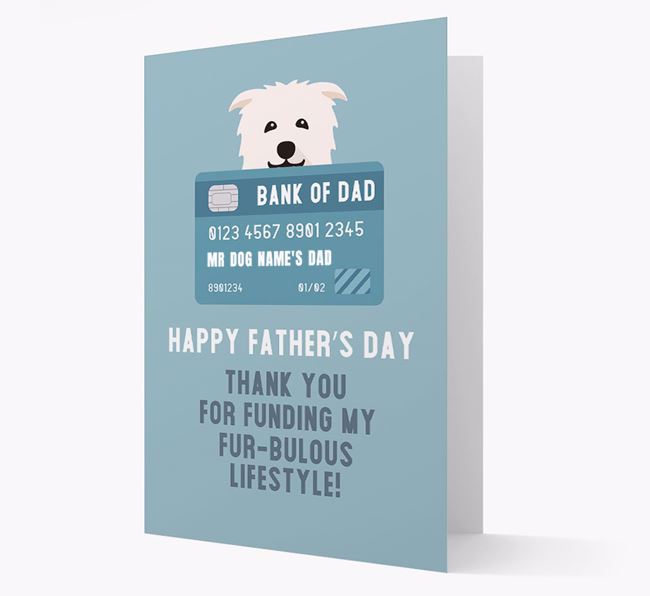 Personalized 'Bank of Dad' Card with Glen Of Imaal Terrier Icon