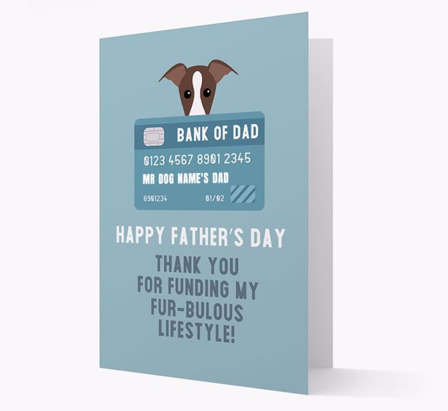 Personalized 'Bank of Dad' Card with Greyhound Icon