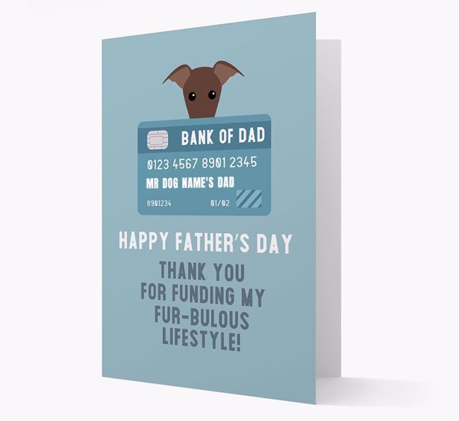 Personalised 'Bank of Dad' Card with Greyhound Icon