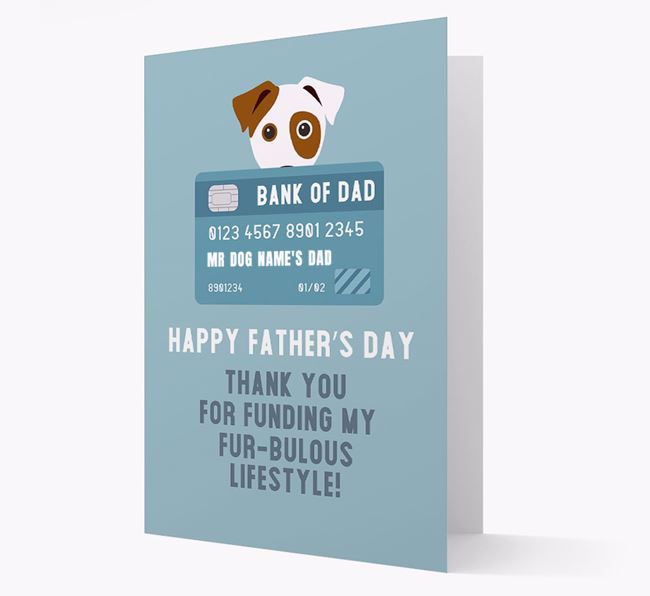 Personalized 'Bank of Dad' Card with Dog Icon