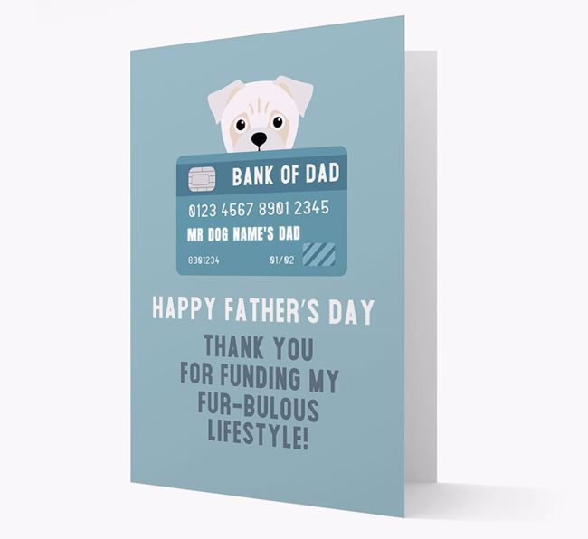 Personalised 'Bank of Dad' Card with Jug Icon