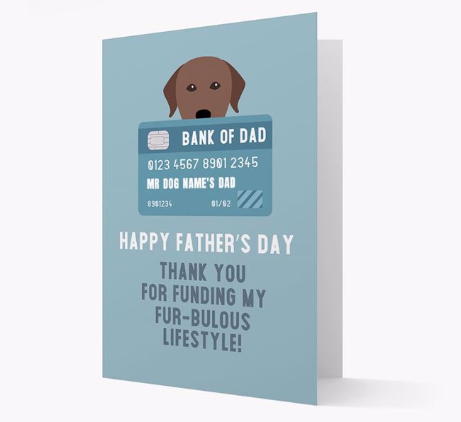 Personalized 'Bank of Dad' Card with Labrador Retriever Icon