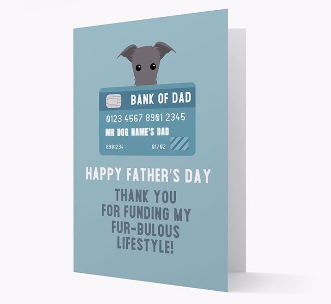 Personalized 'Bank of Dad' Card with Lurcher Icon