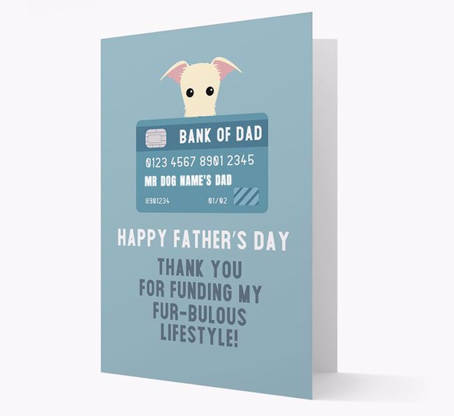 Personalised 'Bank of Dad' Card with Lurcher Icon