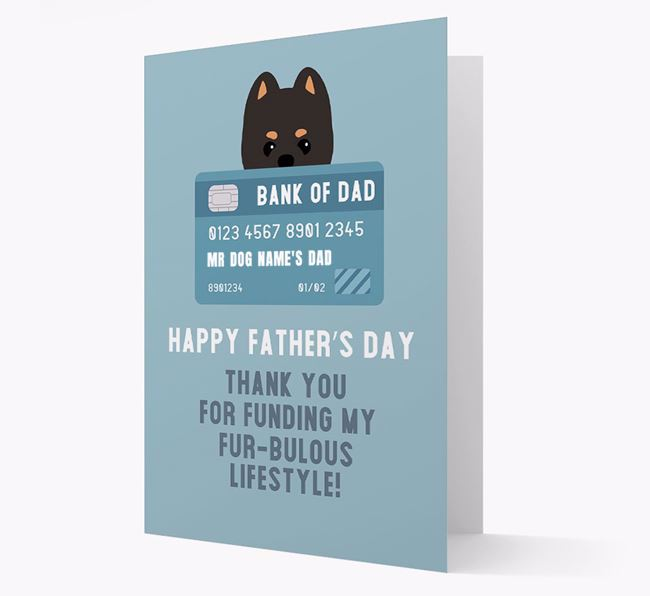 Personalized 'Bank of Dad' Card with Pomeranian Icon