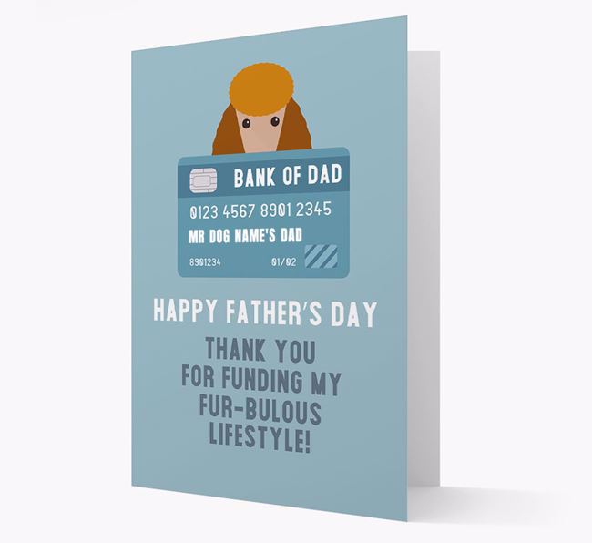 Personalised 'Bank of Dad' Card with Poodle Icon